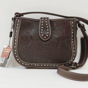 Montana West Tooled Leather Crossbody Purse Bag